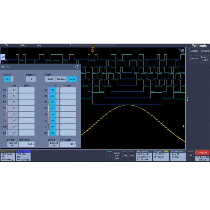 Конфигурация цифровых каналов для осциллографов Tektronix