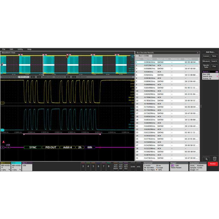 Tektronix MSO5 - декодировка протоколов